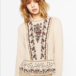 Zara Embroidered Frilled Top